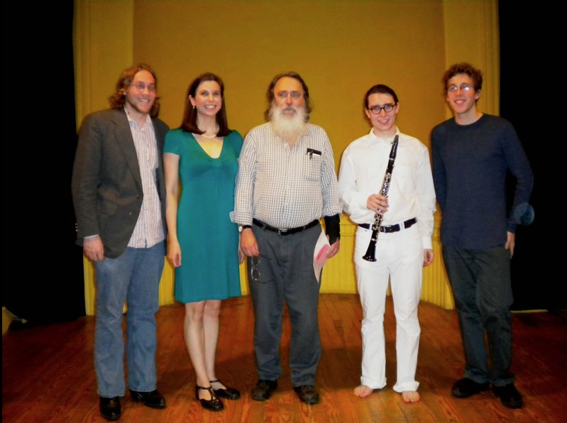 with composers Matt Aelmore, Stuart Saunders Smith, and Drake Ralph Andersen